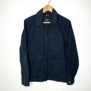 AETHER Morro Black Snap Up Utility Jacket